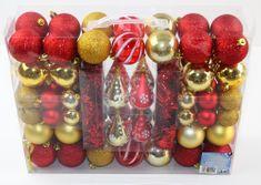 Seizis set bunkic raznolikih oblik, rdeči in zlati, 90 kosov
