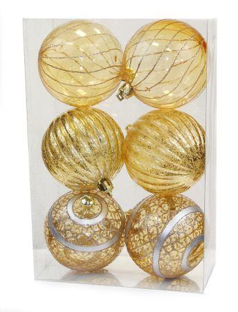 Seizis komplet prozornih bunkic z dekorjem, 8 cm, zlate, 6 kosov