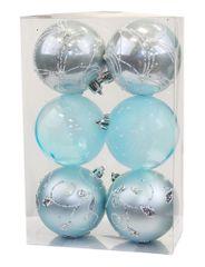 Seizis Set 6 průhledných koulí s dekorem, 8cm, modré