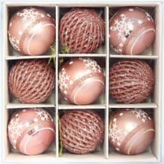 Seizis Dísszel ellátott 9 gömbből álló készlet, rózsaszín, 6cm
