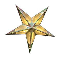 Seizis 60 cm papierová hviezda, 10 LED s 3D efektom, zlatá
