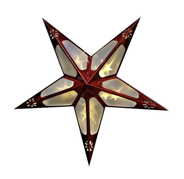 Seizis 60cm papírová hvězda,10 LED s 3D efektem, červená