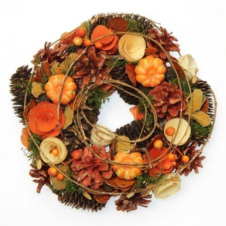Seizis jesienny wieniec z dyniami i szyszkami, 25 cm
