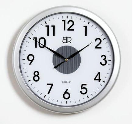 BR stenska ura, premer 30 cm, s senzorjem, srebrna