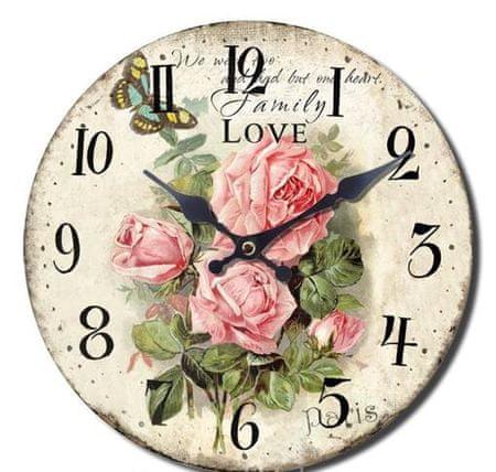 BR stenska ura, retro Vrtnice, premer 33 cm