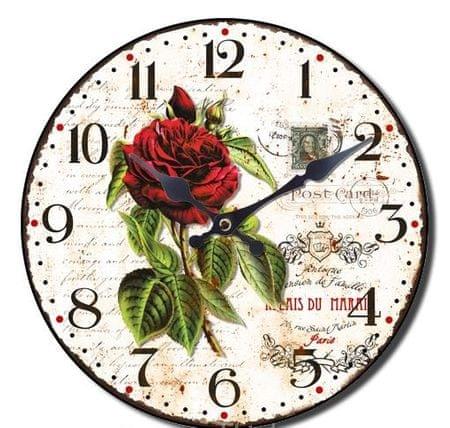 BR stenska ura, retro Rdeča vrtnica, premer 33 cm