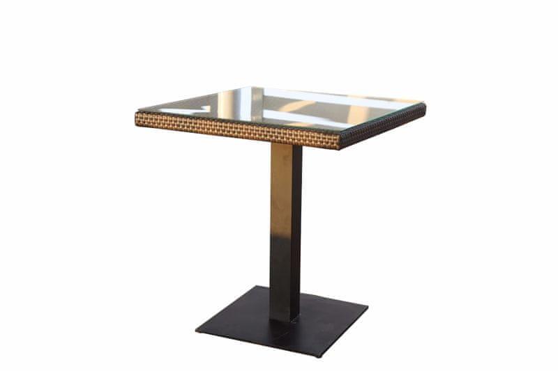 Dimenza Designový stůl BARCELONA 70x70 cm - hnědý
