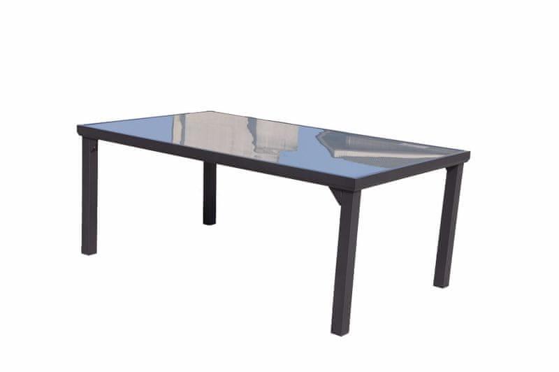 Dimenza Hliníkový jídelní stůl VADUZ 180x105 cm - mléčné sklo