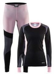 Craft ženski set majica + hlače Baselayer, črno-roza