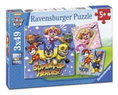 Ravensburger sestavljanka Tačke na patrulji - Super Pup Heroes!, 3 x 49 delov