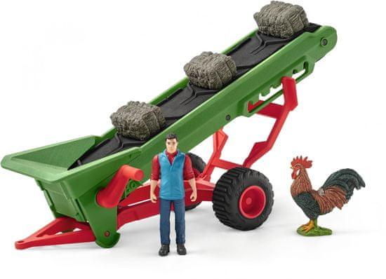 Schleich zestaw farmer z taśmociągiem na siano