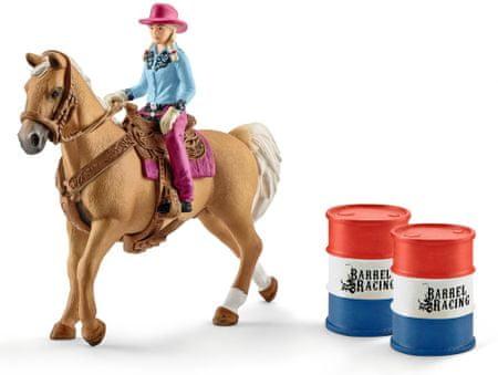 Schleich zestaw wyścig przez beczki, z kowbojką na koniu