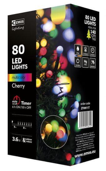Emos svetlobna veriga s časovnikom, 80 LED – kroglice, 8 + 5 m, večbarvna