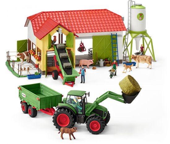 Schleich Traktor s vlekem 42379