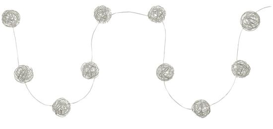 Retlux řetěz koule stříbrné 10LED teplá bílá