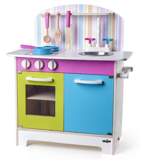 Woody aneks kuchenny dla dzieci Julia, w prążki