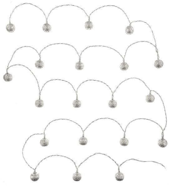 Retlux řetěz stříbrné koule 20 LED studená bílá