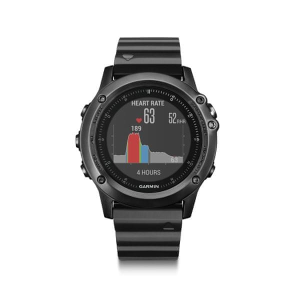 Garmin fénix 3, Sapphire HR Slate Gray, Stainless Steel band
