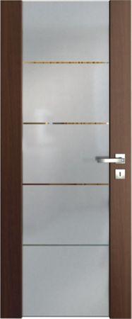 VASCO DOORS Interiérové dveře VENTURA SATINATO kombinované sklo s pruhy, Bílá, A