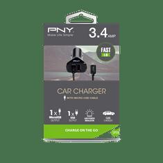 PNY Autonabíječka Micro-USB (P-DC-UU-K01-04-RB) Black