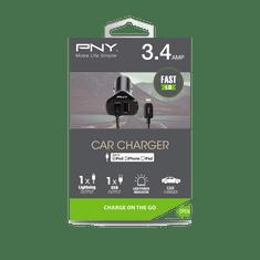 PNY Autonabíječka Lightning (P-DC-LN-K01-04-RB), Black