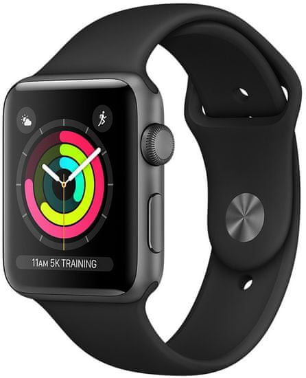 Apple Refurbished Watch Series 3, 42mm Space Gray Aluminium Case with Black Sport Band