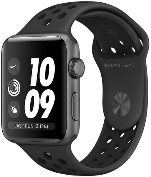 Apple Watch Series 3 Nike+ GPS, 42mm Space Grey Aluminium Case with Anthracite/Black Nike Sport Band
