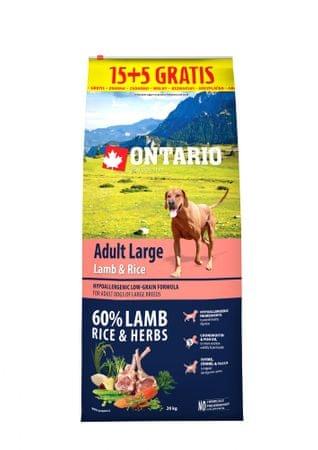 Ontario Adult Large Lamb & Rice 15 + 5 kg Zdarma