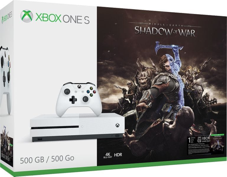 Microsoft Xbox One S 500GB + Middle-Earth: Shadow of War