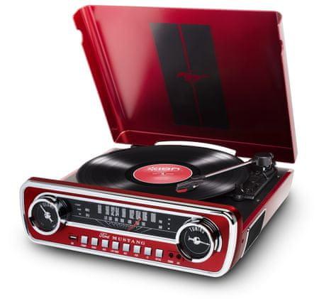 iON Mustang LP fél-automatikus gramofon, piros