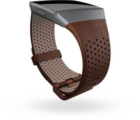 Fitbit Ionic - perforovaný kožený řemínek Cognac - Velikost S