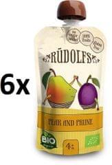 RUDOLFS Bio Pyré hruška + švestka kapsička - 6x110 g