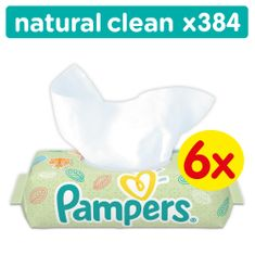 Pampers Natural Clean Törlőkendő, 6×64 db
