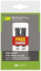 GP ReCyko+ Pro series AAA, nabíjecí, 800 mAh, 2 ks + USB nabíječka