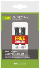 GP Akumulatory ReCyko+ Pro Series AAA, 800 mAh – 2 szt + ładowarka USB