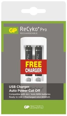 GP ReCyko+ Pro series AAA, nabíjacie, 800 mAh, 2 ks + USB nabíjačka