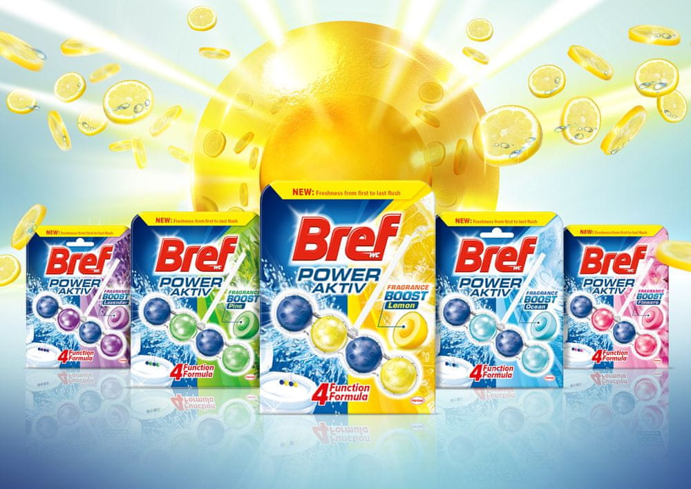 Bref Power Aktiv WC blok Lemon 3 x 50 g