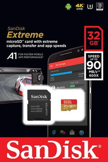 SanDisk SDHC Extreme micro 32GB (SDSQXAF-032G-GN6AA) + SD adaptér