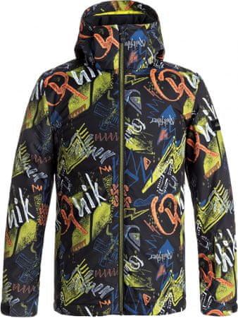 Quiksilver otroška smučarska jakna Mission, črna z vzorcem Thunderbolt, M