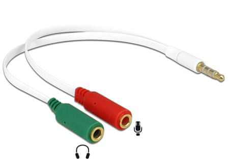 Delock Adapter-AVDIO Jack 3,5M 4-pin - 2x3,5Ž 20cm CTIA