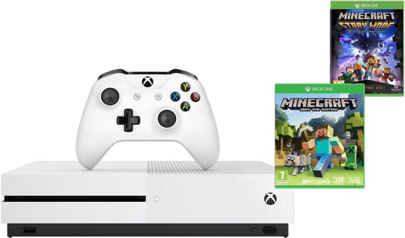 Microsoft Xbox One S 500GB + Minecraft + Minecraft Story Mode + 3M Live + 1M Game pass