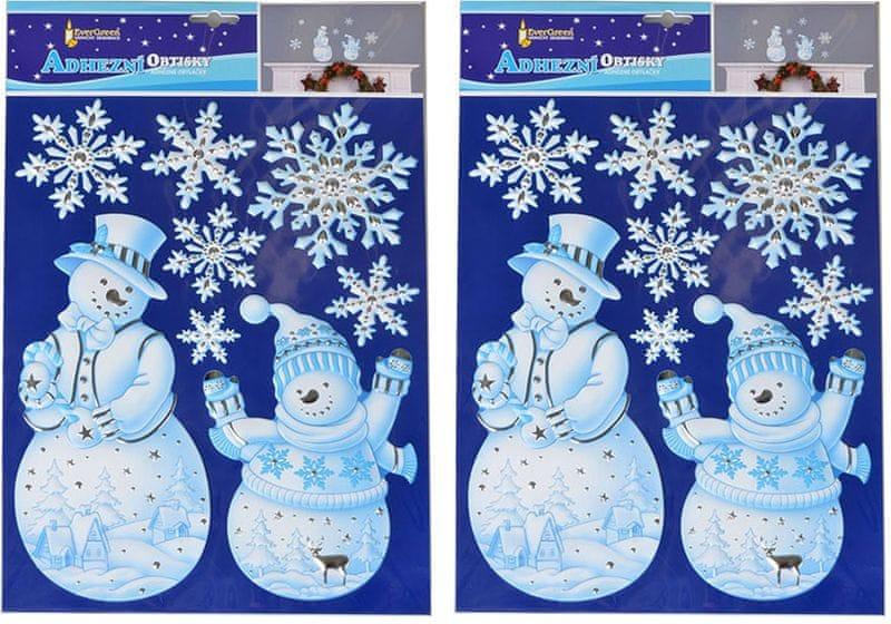 EverGreen Vánoční samolepky na zeď - modrý sněhulák
