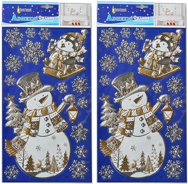 EverGreen Vánoční samolepky na zeď - zlatý sněhulák