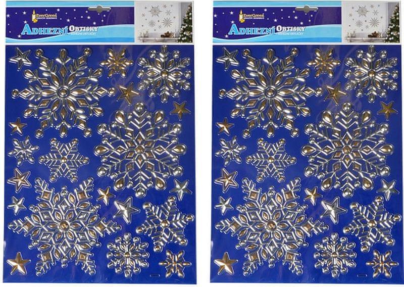 EverGreen Vánoční samolepky na zeď - zlaté vločky velké
