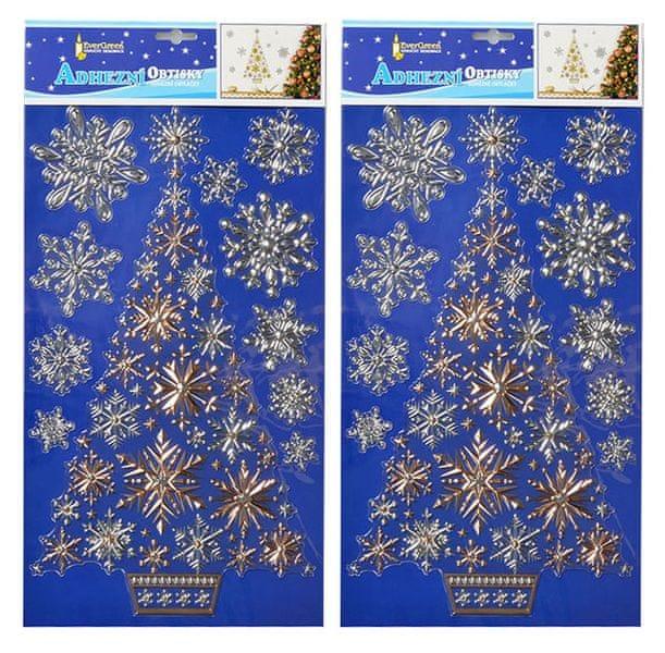 EverGreen Vánoční samolepky na zeď - zlatý stromeček