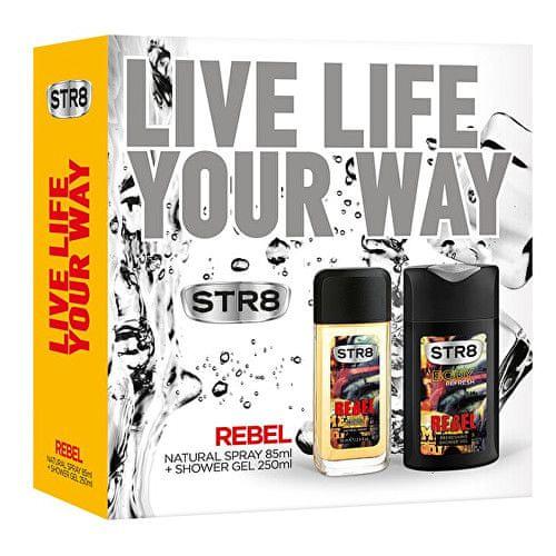 STR8 Rebel - deodorant s rozprašovačem 85 ml + sprchový gel 250 ml
