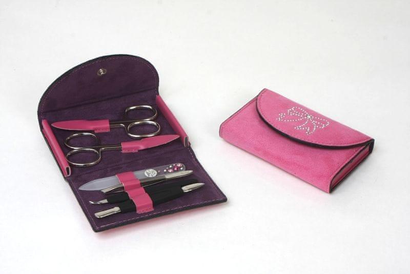 DuKaS Růžová semišová manikúra Solingen s kamínky Swarovski PL 216R