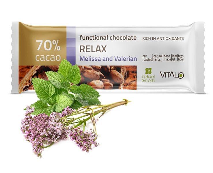 Vitalo Funkční čokoláda Relax - Melissa and Valerian 25g