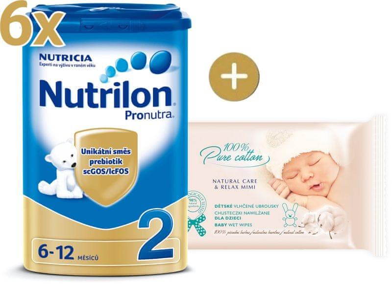 Nutrilon 2 Pronutra - 6×800g + vlhčené ubrousky Onclé SENSITIVE