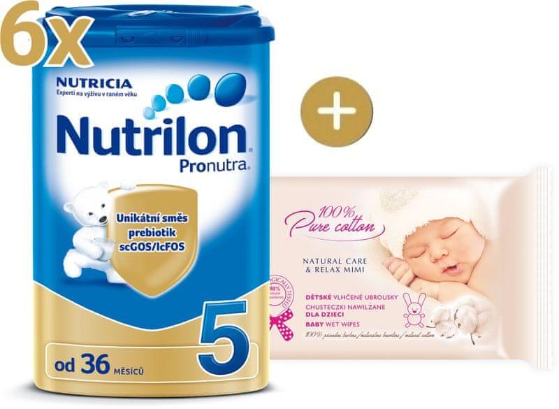 Nutrilon 5 Pronutra - 6 x 800g + vlhčené ubrousky Onclé Bio šípkový olej